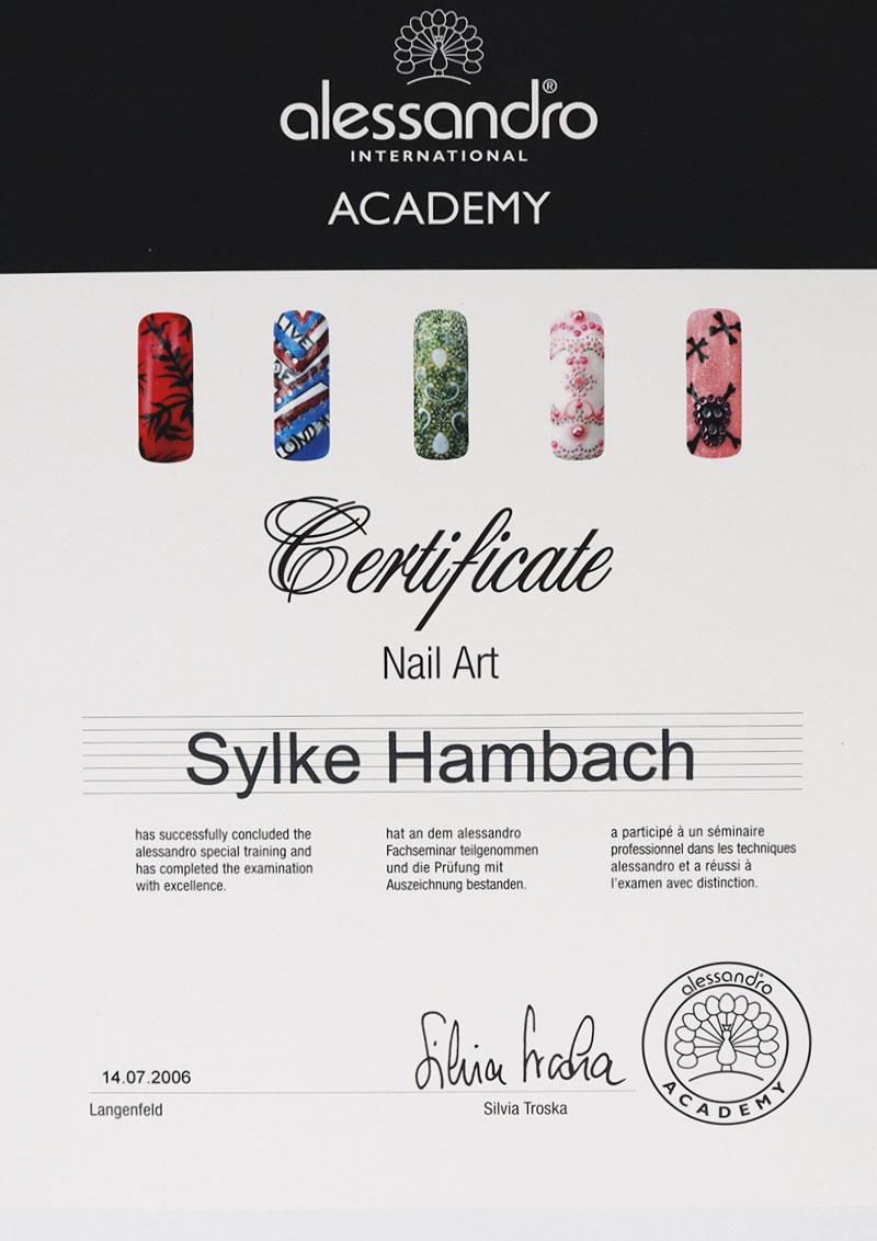 Zertifikat Nail Art alessandro