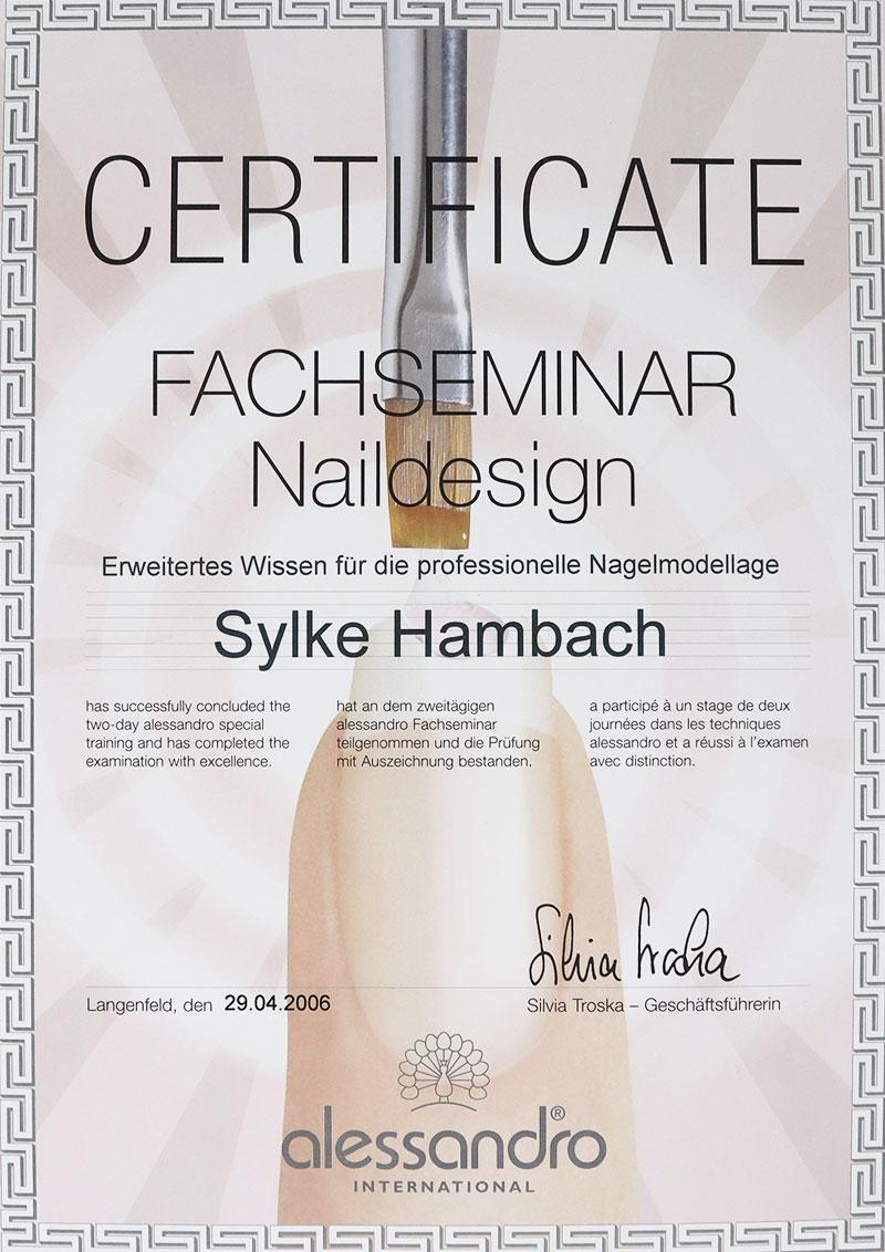 Zertifikat Naildesign